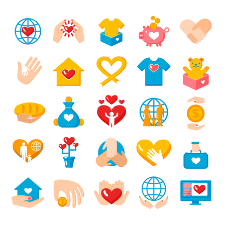 Charity donation big flat icons collection with heart hand palms and earth globe symbols isolated vector illustration.