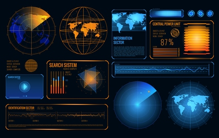 Glowing search radar set of retrieval system control panel user interface elements with graphs and buttons vector illustration.