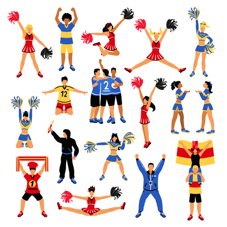 Set of football players, trainer, fans with scarf and flag, girls cheerleaders with pompoms isolated vector illustration.