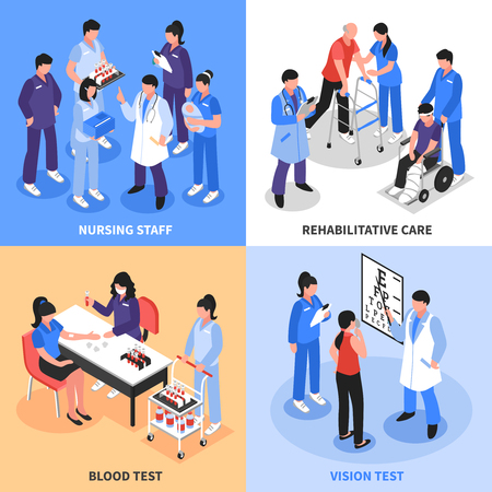 Hospital staff concept 4 isometric icons square with vision blood tests and rehabilitation nurses isolated vector illustration.