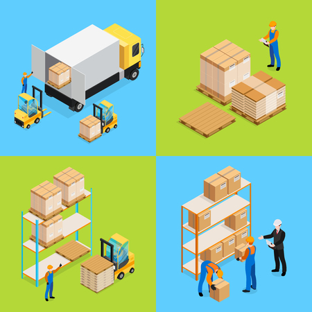 Warehouse isometric compositions including unloading cargo, inventory assorting and storage of goods isolated vector illustration. Illustration