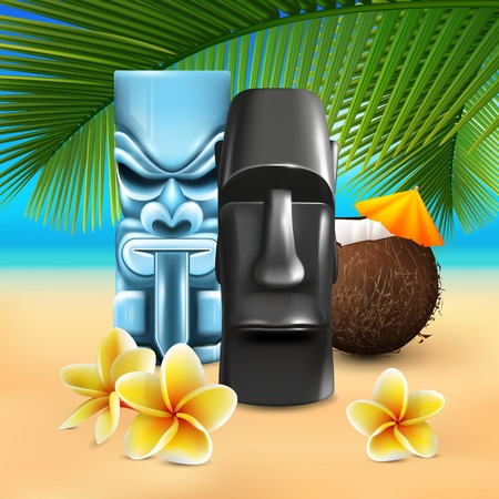 Hawaiian sunny beach illustration with cumbersome coconut and tin god images on colorful sandy seashore background vector illustration.