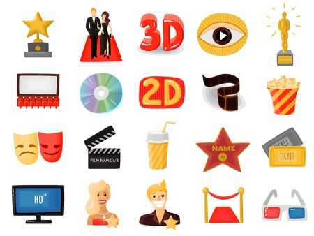 Set of colored cinema icons with actors on red carpet movie auditorium 3d glasses flat vector illustration