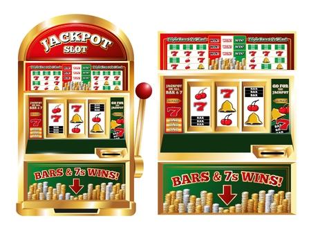 Poker jackpot máquina aislado frente imágenes conjunto con realista un brazo bandido juego jugando máquina ilustración vectorial Ilustración de vector
