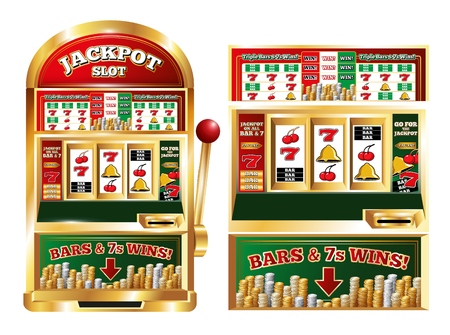 Poker slot jackpot machine isolated front images set with realistic one arm bandit game playing machine vector illustration Vector Illustration