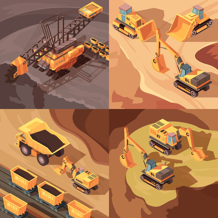 Mining set of square compositions with machinery equipment performing open pit operations in through cut scenery vector illustration