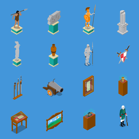 Museum isometric icons set with warriors and weapon, scroll, vase, sculpture on blue background isolated vector illustration
