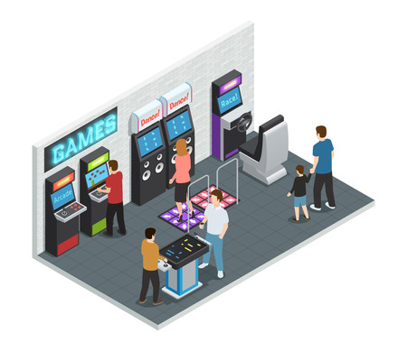 one people: Isometric isolated and colored game club interior concept with playing people in one room vector illustration
