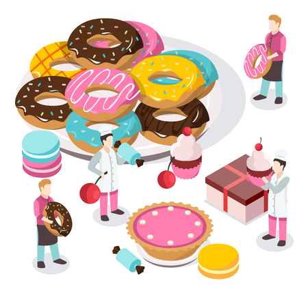 Sweet shop isometric composition with bakers and waiters, donuts, macaroons, cupcake, carton on white background vector illustration Illustration