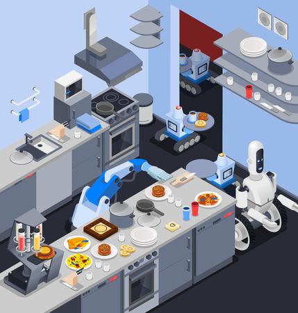 로봇 매니퓰레이터와 로봇 아이소 메트릭 직업 컴포지션 레스토랑 주방 인테리어 벡터 일러스트 레이 션에 음식을 봉사하는 웨이터 및 웨이터