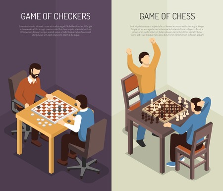 Two vertical board games vertical banner set with game of checkers and of chess headlines vector illustration Stok Fotoğraf - 79591447
