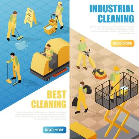 Servizio industriale di pulizia banner isometriche verticale isolato illustrazione vettoriale illustrazione 3d Archivio Fotografico - 79575046
