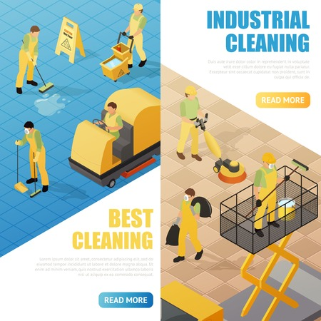 Industrial cleaning service isometric vertical banners set 3d isolated vector illustration Illustration