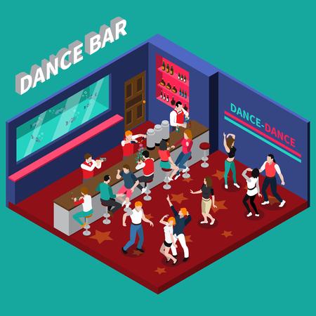 Danse barre isométrique composition avec barmans travaillant derrière bar comptoir et jeunes gens dansant vector illustration Banque d'images - 79591457