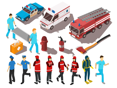 disaster: Rescue service workers their cars and equipment isometric set isolated on white background 3d vector illustration