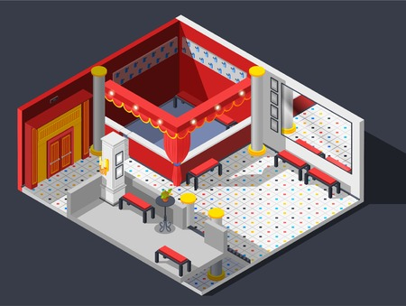funny pictures: Theatre hall isometric composition with lights benches and mirror vector illustration