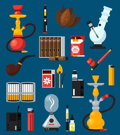 담배와 함께 설정 평면 컬러 담배 아이콘 시가 일치 라이터 봉의 물 담뱃대 담배 잎 평면 벡터 일러스트 레이션