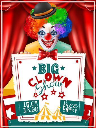 Cartel de anuncio de invitación de rendimiento de gran espectáculo de circo con payaso sonriente en la ilustración de vector de peluca brillante de tres colores