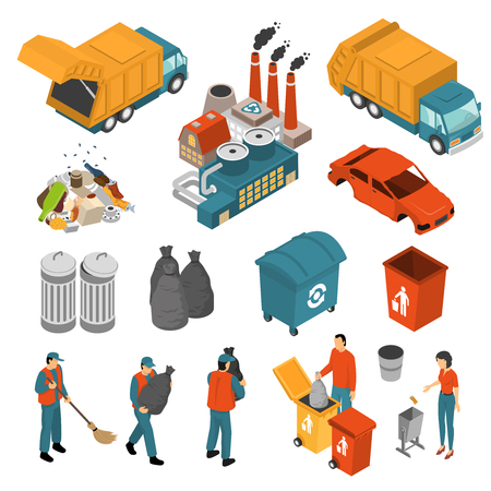 Isolated colored isometric garbage recycling icon set with garbage collectors and containers vector illustration Illustration