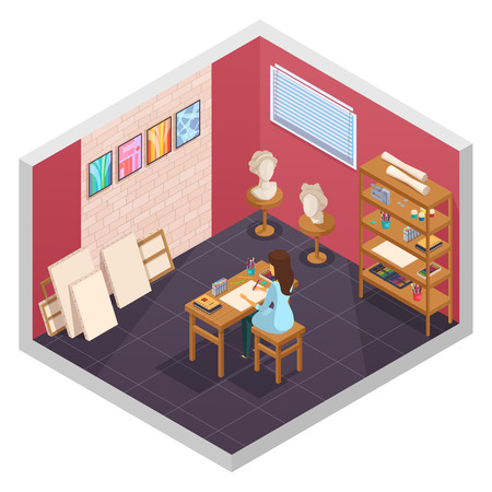 Art studio isometric interior with teaching room interior painting materials shelves and female character at table vector illustration