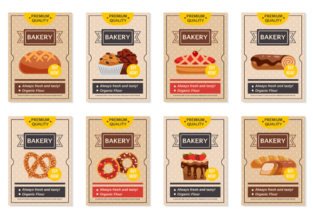 Set of flat retro bakery posters with presentation of different cooking products isolated vector illustration 向量圖像
