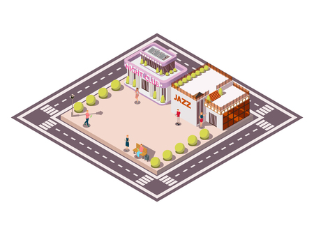 Isometric composition of city square bounded by carriageways with clubhouse jazz buildings garden beds and people vector illustration Ilustração