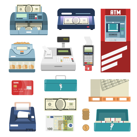 Bank attributes isolated colored icon set with cash machine register money printing box vector illustration