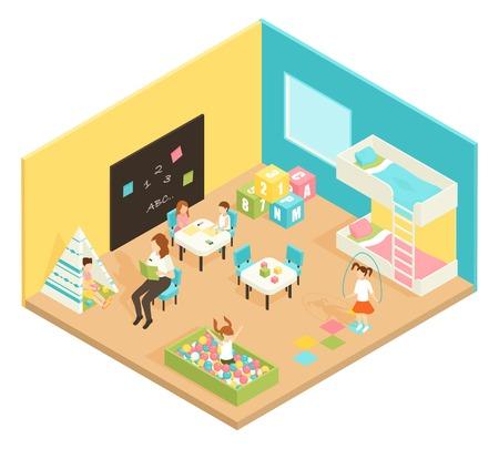 Het concept van het de ruimte isometrische ontwerp van de kleuterschoolspeelplaats met leraar en kinderen belast met onderwijs en openluchtspelen vectorillustratie Stock Illustratie