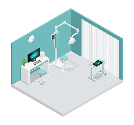 Colored stomatology dentistry isometric 3d composition with cabinet in hospital and equipment vector illustration Çizim