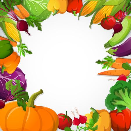 野菜カボチャ パプリカ トウモロコシ ブロッコリー ビート ニンジン トマト キャベツ白い背景のベクトル図と装飾的なフレーム  イラスト・ベクター素材