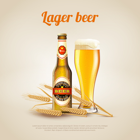 Realistic background with bottle and cup of cold lager wheat beer vector illustration
