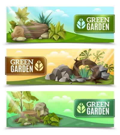 モダンな景観要素設計熱帯植物石庭組成分離ベクトル図で設定 3 の水平方向のバナー