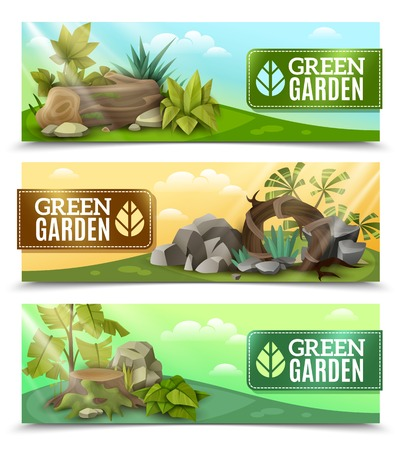 modern garden: Modern landscape elements design 3 horizontal banners set with tropical plants rock garden compositions isolated vector illustration
