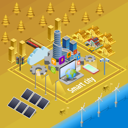 Internet of things smart city infrastructure system concept isometric poster with embedded computer controlled devices vector illustration Illustration