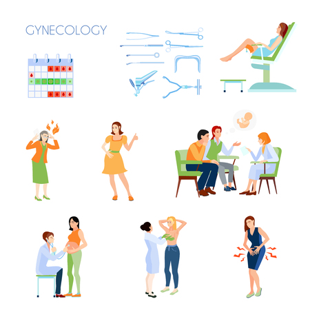 Colored and isolated gynecology flat icon set with instruments attributes family planning with a doctor vector illustration