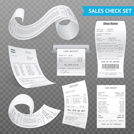 Cash register sales receipts printed on thermal rolled paper realistic images collection on transparent background vector illustrations Ilustrace