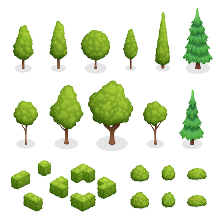 Isometric set of park plants with green trees and bushes of various shapes isolated vector illustration
