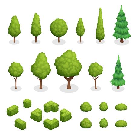 Isometrische reeks parkplanten met groene bomen en struiken van verschillende vormen geïsoleerde vectorillustratie