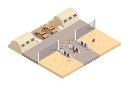Composición isométrica militar con base militar custodiada y con la ilustración vectorial de equipos necesarios
