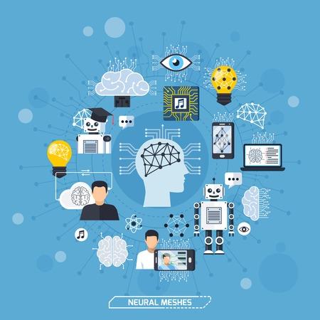 Mani neurali concetto di progettazione con il cervello umano profondo di apprendimento immagine di riconoscimento robot icone illustrazione vettoriale piatto Archivio Fotografico - 79591623