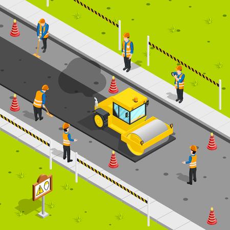 ベクトル図安全コーンと労働者アスファルト道路に敷設スチーム ローラーと建設アイコン等尺性組成物 ベクターイラストレーション