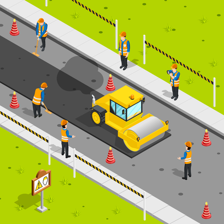 Construction icons isometric composition with steam roller laying asphalt on roadway with safety cones and workers vector illustration Иллюстрация