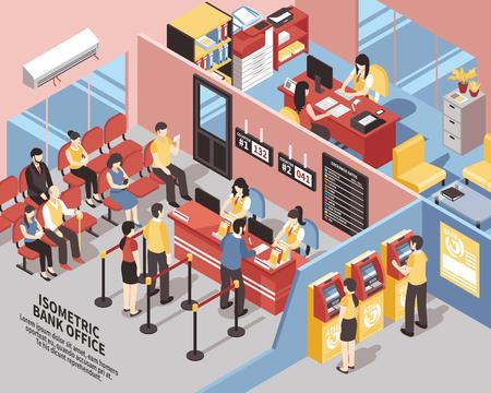Banco de oficina con elementos de interior, los clientes cerca de los trabajadores y atms, en el área de espera isométrica ilustración vectorial
