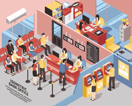 Bank office with interior elements, clients near workers and atms, in waiting area isometric vector illustration Illustration