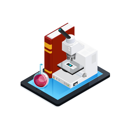 Online science isometric composition with book microscope and flask at mobile device on white background vector illustration