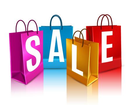 Verkauf Poster mit weißen Schriftzug auf bunten Einkaufstaschen mit Reflexion 3d Design Vektor-Illustration Standard-Bild - 79591636