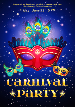 event party: Carnival party poster with date of event and set of masquerade mask on night starry sky background flat vector illustration Illustration