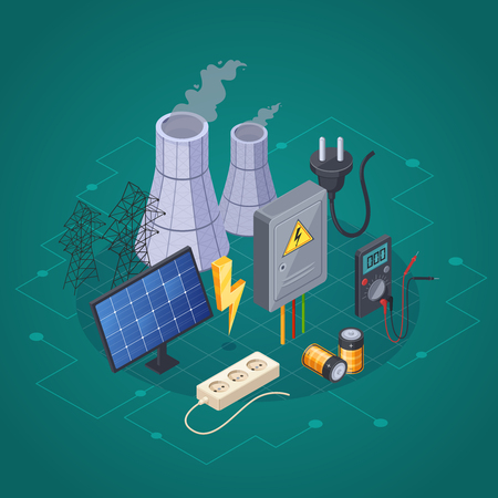 Electricity isometric composition with electric power and energy symbols vector illustration