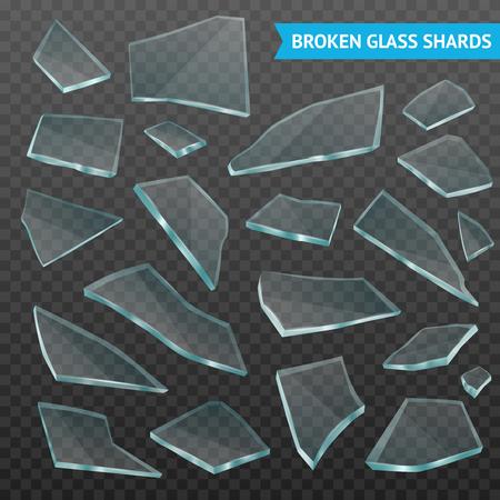Gefacetteerde dikke glas gebroken tumbler fragmenten verschillende vormen en grootte stukken instellen op donkere transparante realistische vectorillustratie