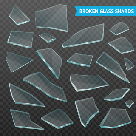 Faceted thick glass broken tumbler fragments various forms and size pieces set on dark transparent realistic vector illustration Illustration